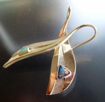 Cathy's earrings in opal, 18 kt gold, fine silver and mokume gane
