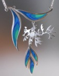 Leafy Seadragon Pendant. sterling silver, copper, coloured pencil